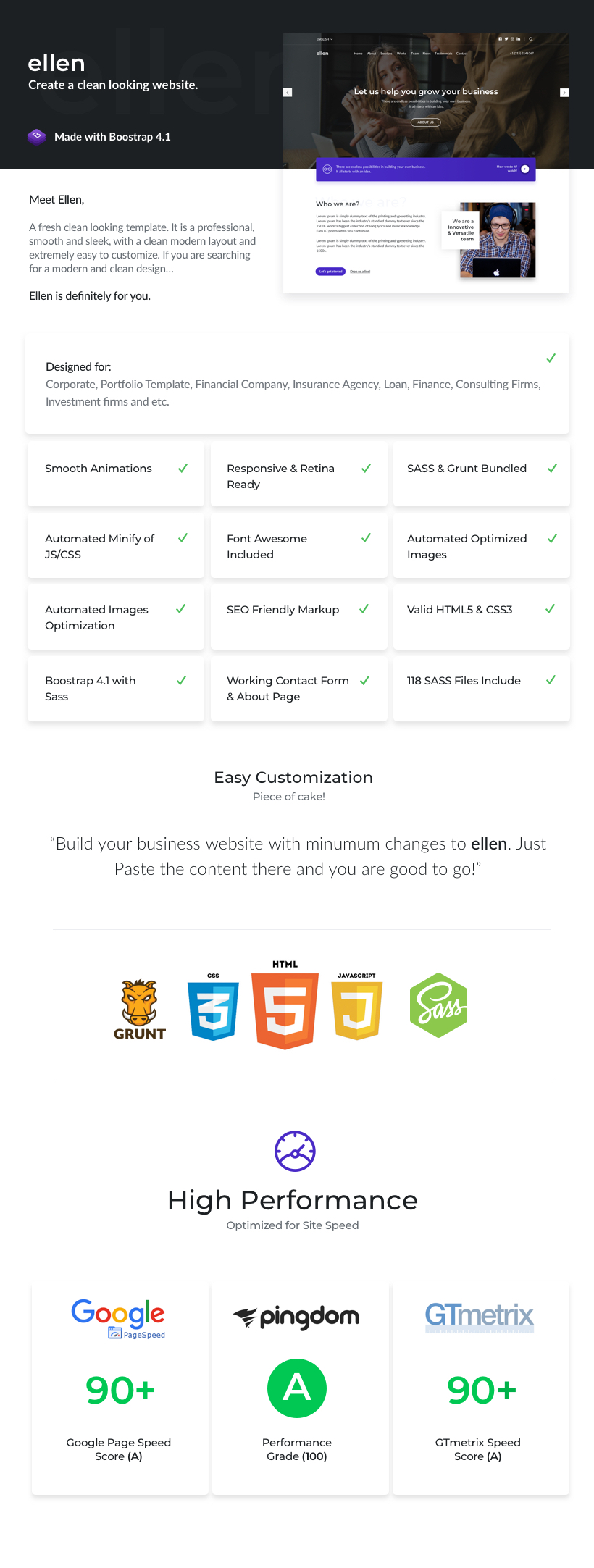 Ellen html theme Desription